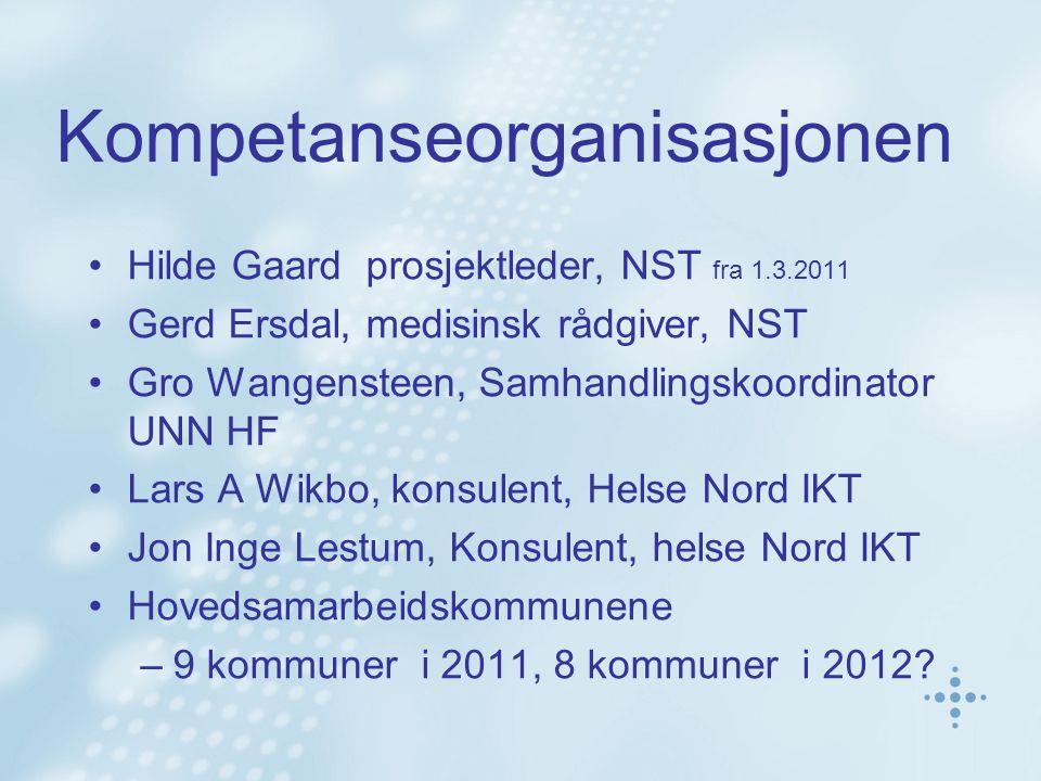 Kompetanseorganisasjonen Hilde Gaard prosjektleder, NST fra 1.3.2011 Gerd Ersdal, medisinsk rådgiver, NST Gro Wangensteen, Samhandlingskoordinator UNN
