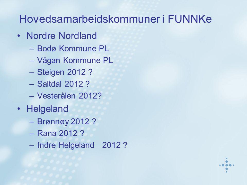 Hovedsamarbeidskommuner i FUNNKe Nordre Nordland –Bodø Kommune PL –Vågan Kommune PL –Steigen 2012 ? –Saltdal 2012 ? –Vesterålen 2012? Helgeland –Brønn