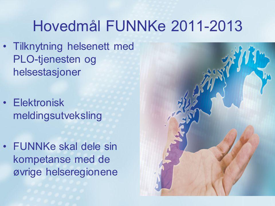 Hovedmål FUNNKe 2011-2013 Tilknytning helsenett med PLO-tjenesten og helsestasjoner Elektronisk meldingsutveksling FUNNKe skal dele sin kompetanse med