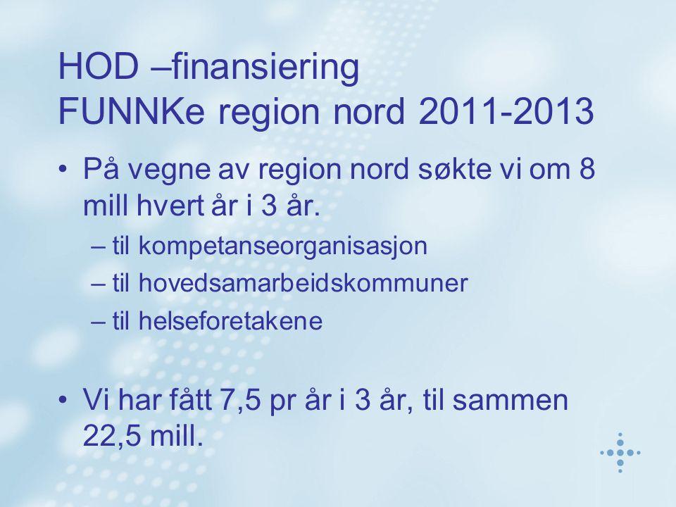 HOD –finansiering FUNNKe region nord 2011-2013 På vegne av region nord søkte vi om 8 mill hvert år i 3 år. –til kompetanseorganisasjon –til hovedsamar