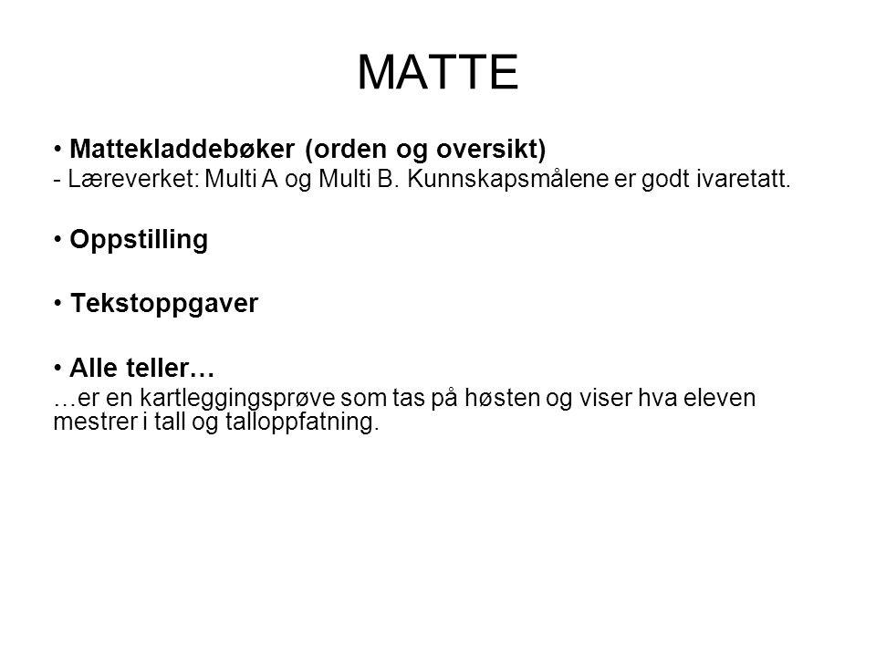 MATTE Mattekladdebøker (orden og oversikt) - Læreverket: Multi A og Multi B.