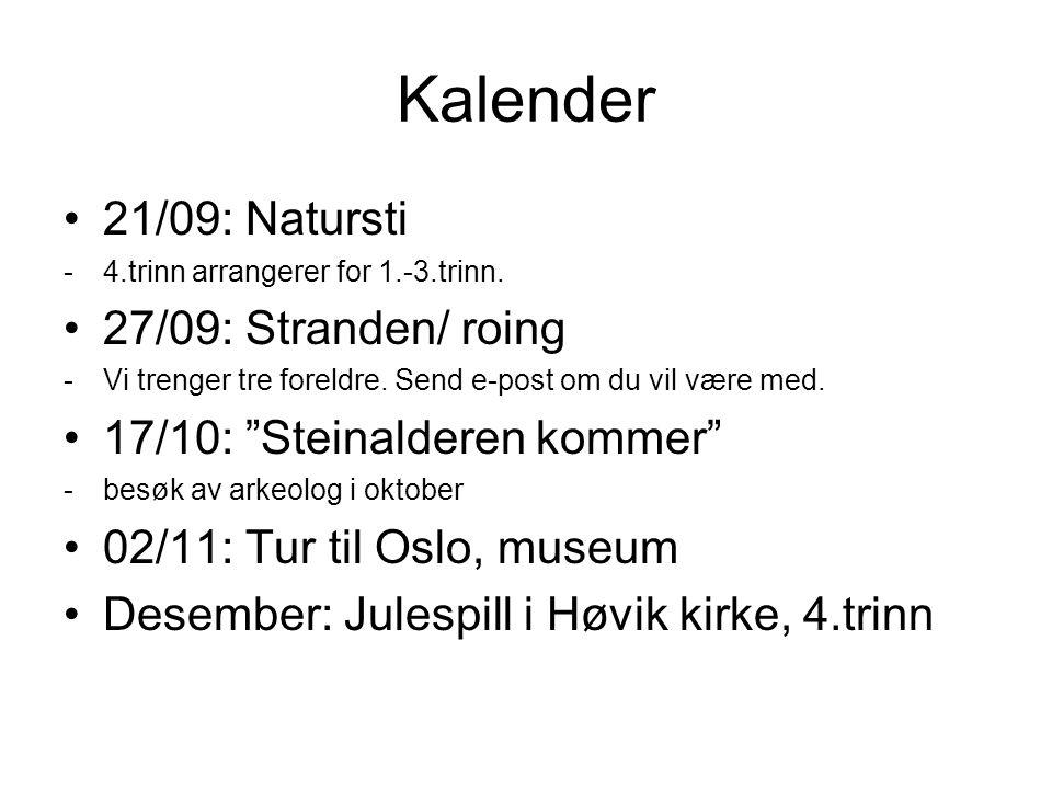 Kalender 21/09: Natursti -4.trinn arrangerer for 1.-3.trinn.