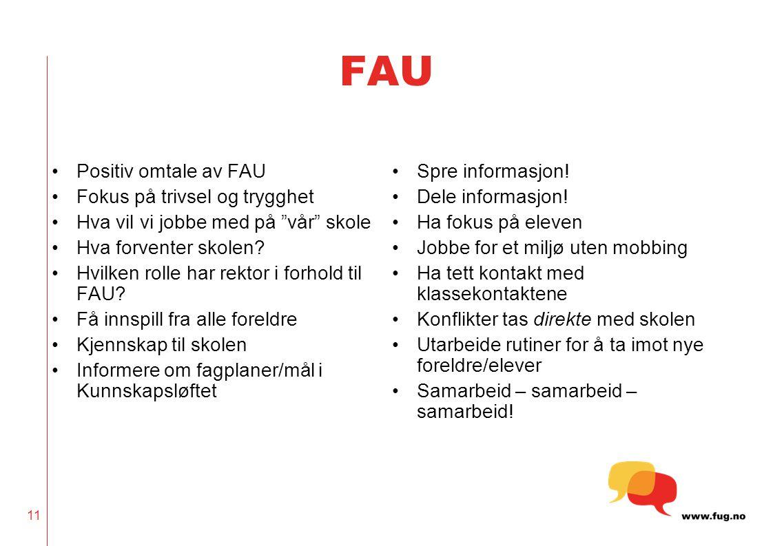 11 FAU Positiv omtale av FAU Fokus på trivsel og trygghet Hva vil vi jobbe med på vår skole Hva forventer skolen.