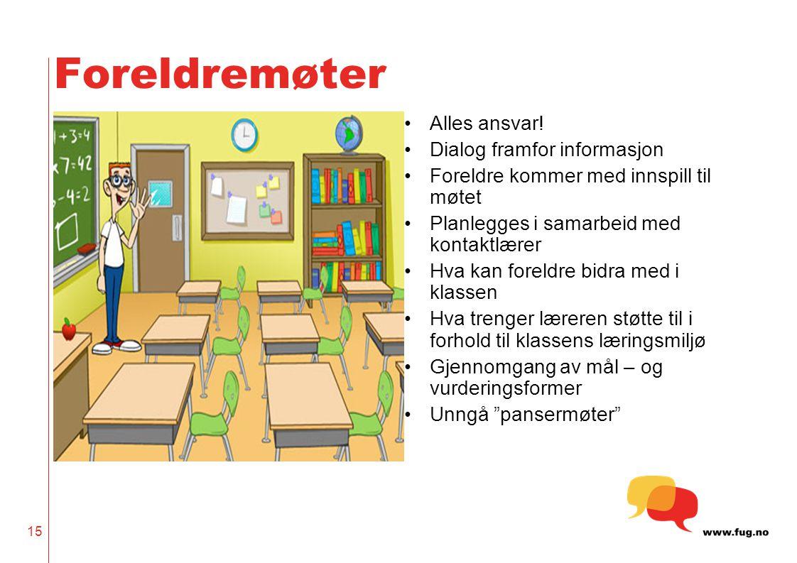 15 Foreldremøter Alles ansvar.