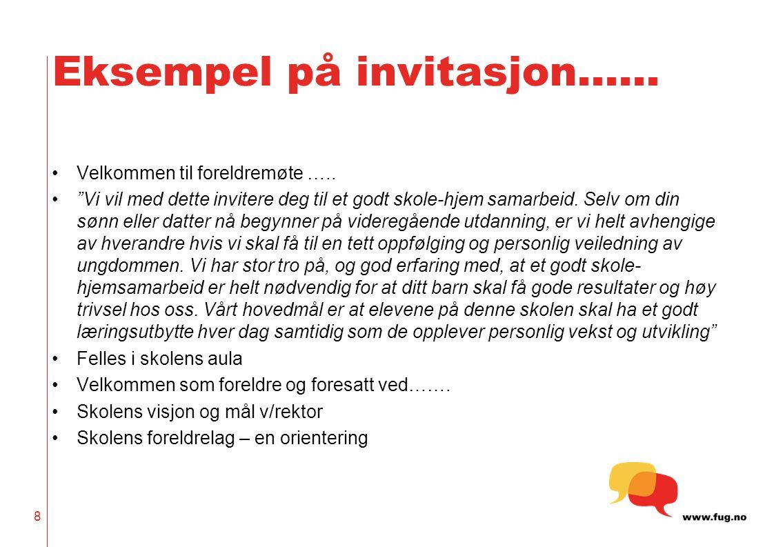Eksempel på invitasjon…… Velkommen til foreldremøte …..