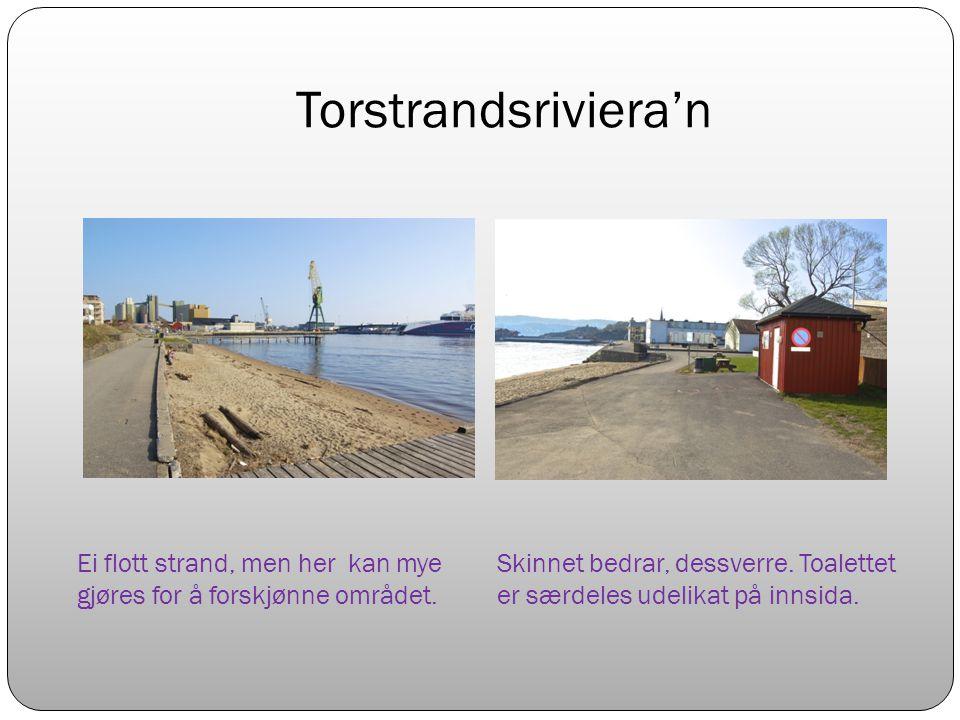 Torstrandsriviera'n Ei flott strand, men her kan mye gjøres for å forskjønne området.