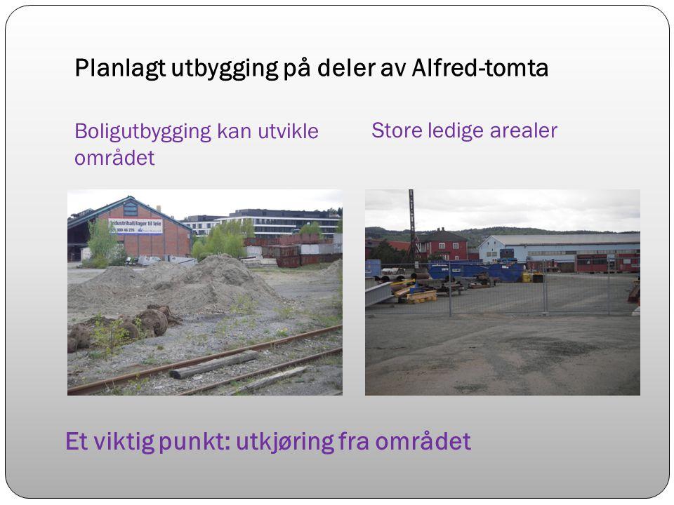 Planlagt utbygging på deler av Alfred-tomta Boligutbygging kan utvikle området Store ledige arealer Et viktig punkt: utkjøring fra området