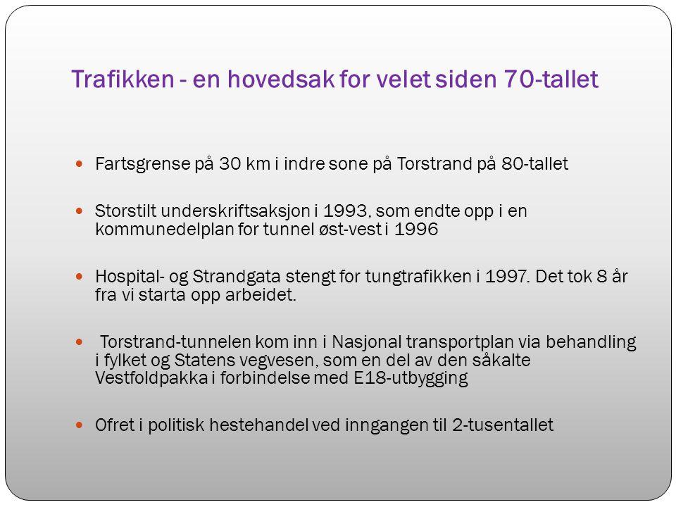 Trafikken - en hovedsak for velet siden 70-tallet Fartsgrense på 30 km i indre sone på Torstrand på 80-tallet Storstilt underskriftsaksjon i 1993, som endte opp i en kommunedelplan for tunnel øst-vest i 1996 Hospital- og Strandgata stengt for tungtrafikken i 1997.
