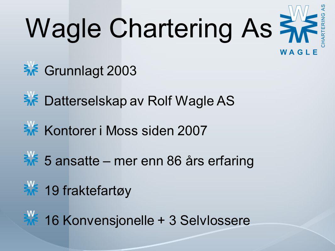 Wagle Chartering As Omsetning 2013 = ca NOK 400 millioner Transportert volum = ca 2 millioner ts Mel/Kornprodukter, Stål, Aluminium, Generalcargo, Mineraler/Råstoffer, IMO, Container, Stein/Grus/Sand, osv.
