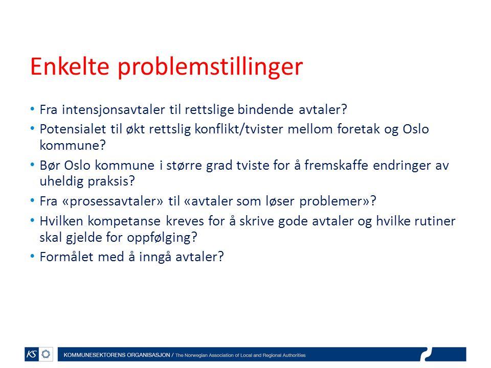 Enkelte problemstillinger Fra intensjonsavtaler til rettslige bindende avtaler? Potensialet til økt rettslig konflikt/tvister mellom foretak og Oslo k