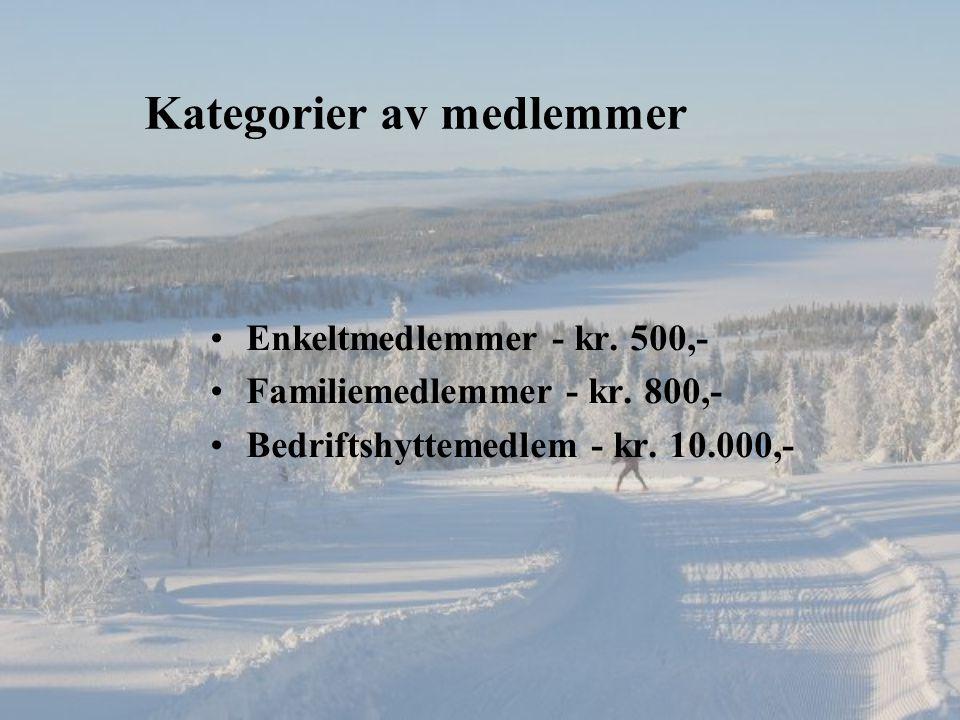 Kategorier av medlemmer Enkeltmedlemmer - kr. 500,- Familiemedlemmer - kr.