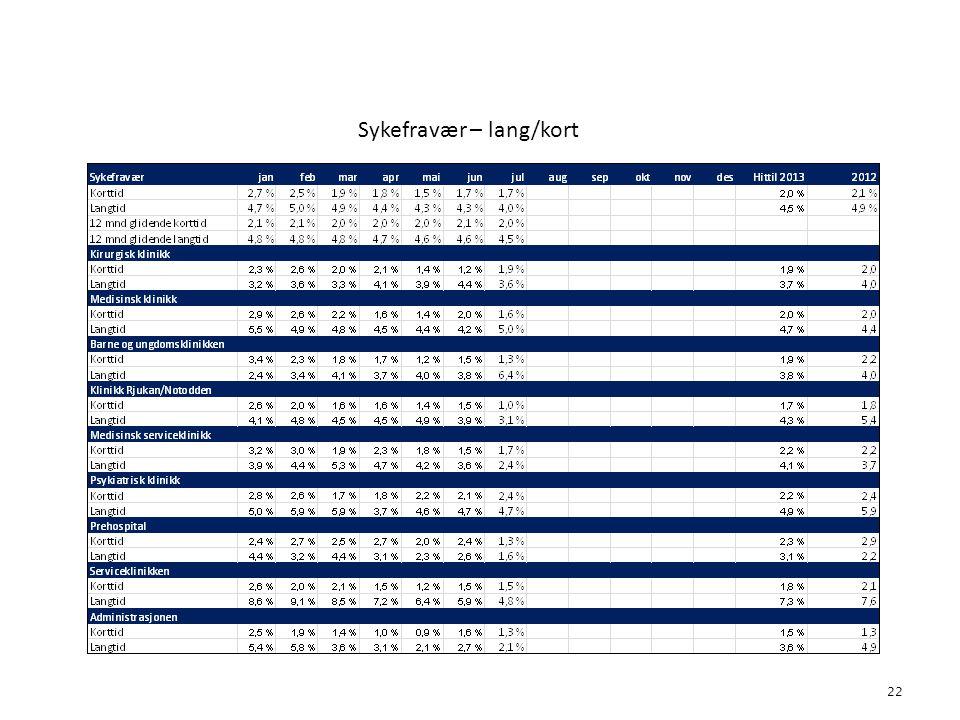 Sykefravær – lang/kort 22 4. Bemanning