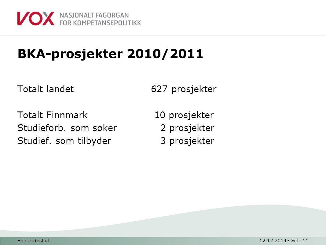 BKA-prosjekter 2010/2011 Totalt landet 627 prosjekter Totalt Finnmark 10 prosjekter Studieforb. som søker 2 prosjekter Studief. som tilbyder 3 prosjek