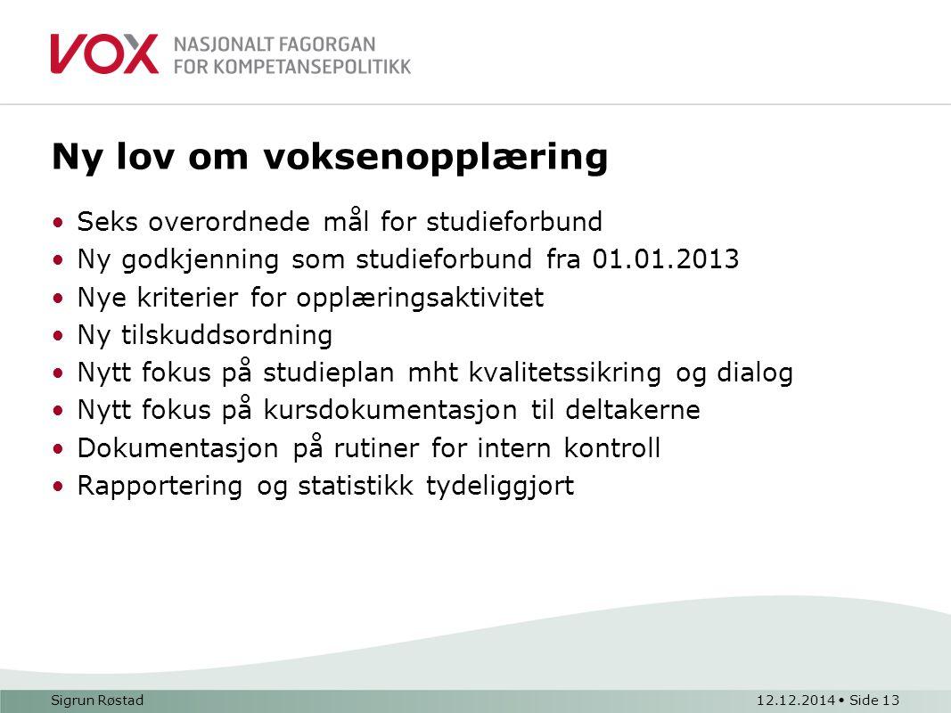 Ny lov om voksenopplæring Seks overordnede mål for studieforbund Ny godkjenning som studieforbund fra 01.01.2013 Nye kriterier for opplæringsaktivitet