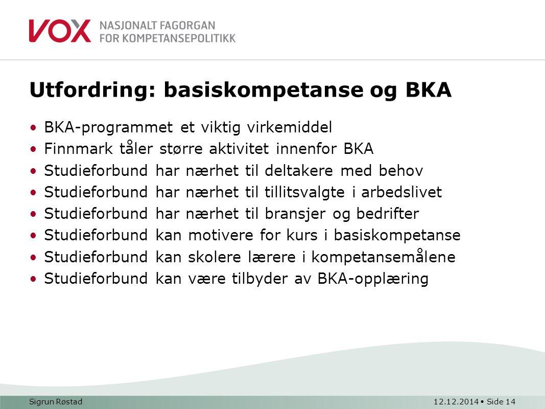 Utfordring: basiskompetanse og BKA BKA-programmet et viktig virkemiddel Finnmark tåler større aktivitet innenfor BKA Studieforbund har nærhet til delt