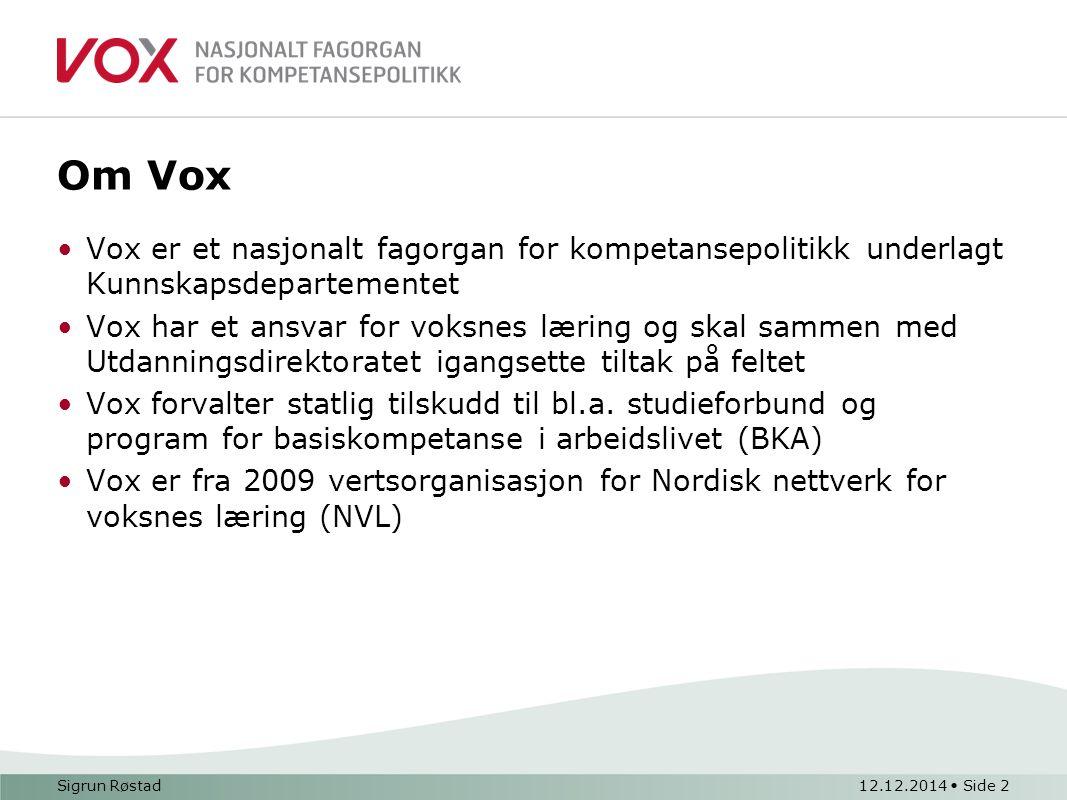 Tom Sigurd Sørhus12.12.2014 Side 3 Vox og Realkompetanse/Karriereveiledning Samarbeider med Utdanningsdirektoratet om vurdering og verdsetting av realkompetanse.