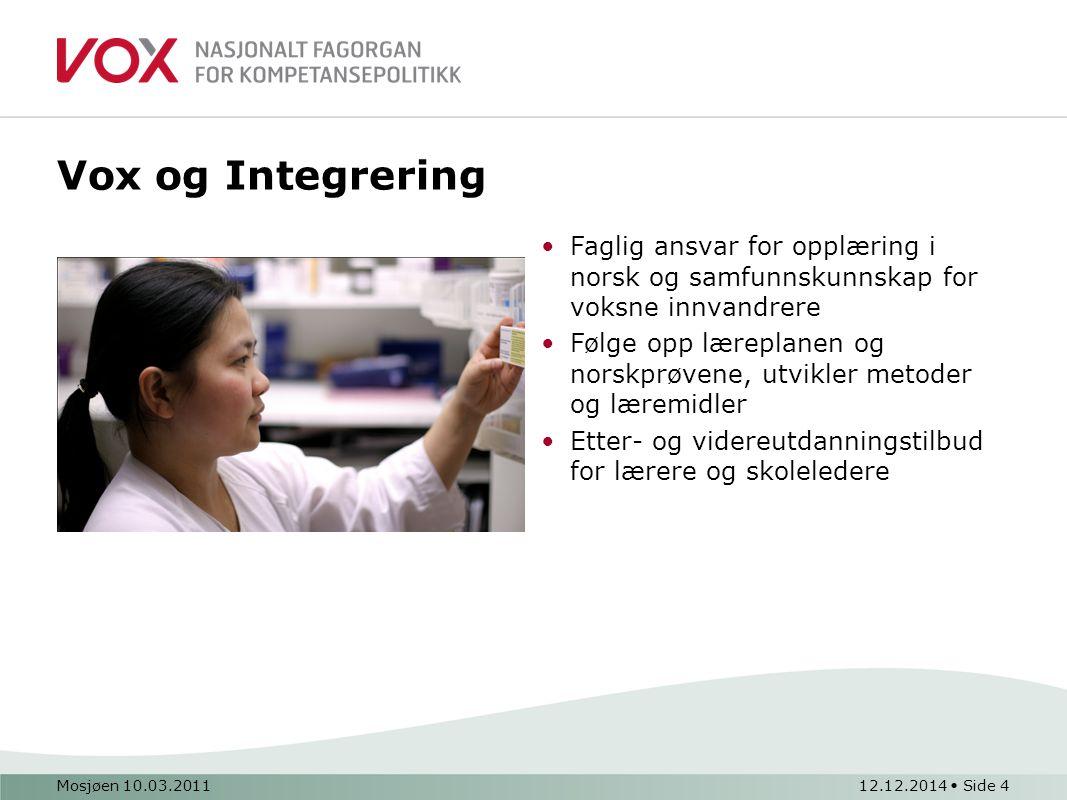 Mosjøen 10.03.201112.12.2014 Side 4 Vox og Integrering Faglig ansvar for opplæring i norsk og samfunnskunnskap for voksne innvandrere Følge opp lærepl