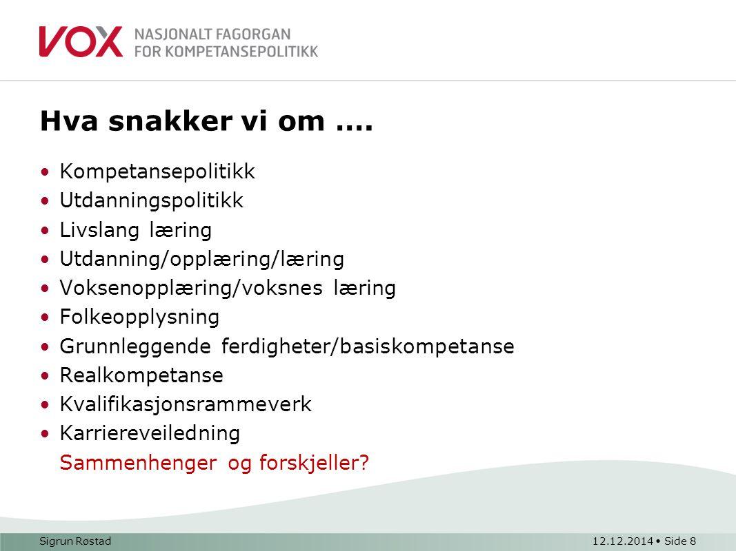Sigrun Røstad12.12.2014 Side 9 Utgangspunkt - voksnes kompetanse 420 000 voksne med lave grunnleggende ferdigheter.