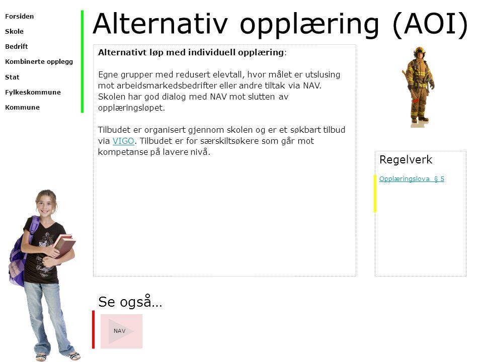 Alternativ opplæring (AOI) Se også… NAV Alternativt løp med individuell opplæring: Egne grupper med redusert elevtall, hvor målet er utslusing mot arb