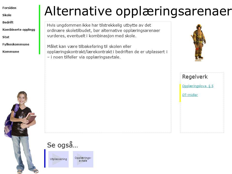 Alternative opplæringsarenaer Se også… Utplassering Opplærings- avtale Hvis ungdommen ikke har tilstrekkelig utbytte av det ordinære skoletilbudet, bø