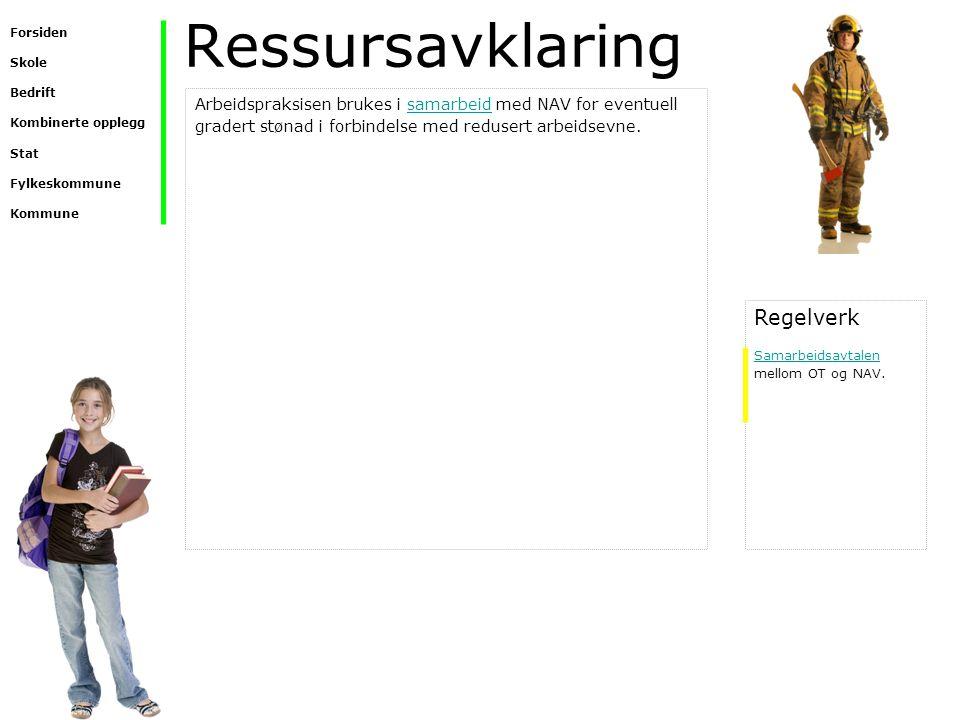 Ressursavklaring Arbeidspraksisen brukes i samarbeid med NAV for eventuell gradert stønad i forbindelse med redusert arbeidsevne.samarbeid Regelverk S