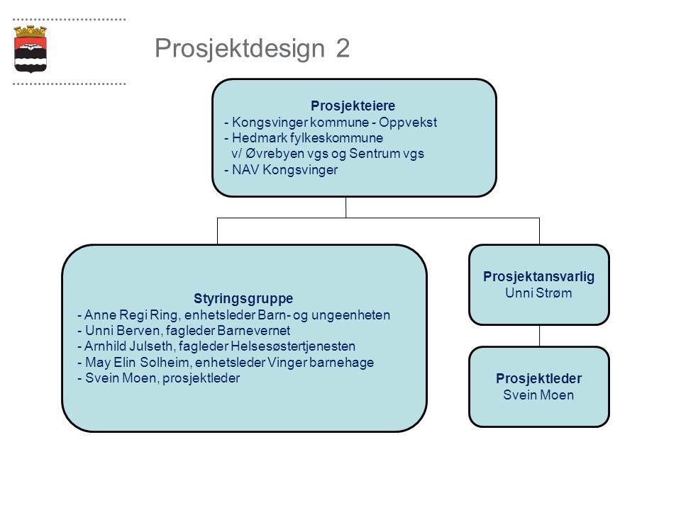 Prosjektdesign 2 Prosjekteiere - Kongsvinger kommune - Oppvekst - Hedmark fylkeskommune v/ Øvrebyen vgs og Sentrum vgs - NAV Kongsvinger Styringsgrupp