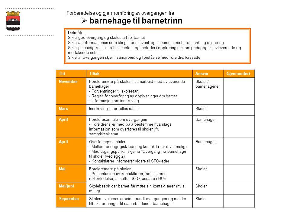 Forberedelse og gjennomføring av overgangen fra  barnehage til barnetrinn Delmål: Sikre god overgang og skolestart for barnet Sikre at informasjonen