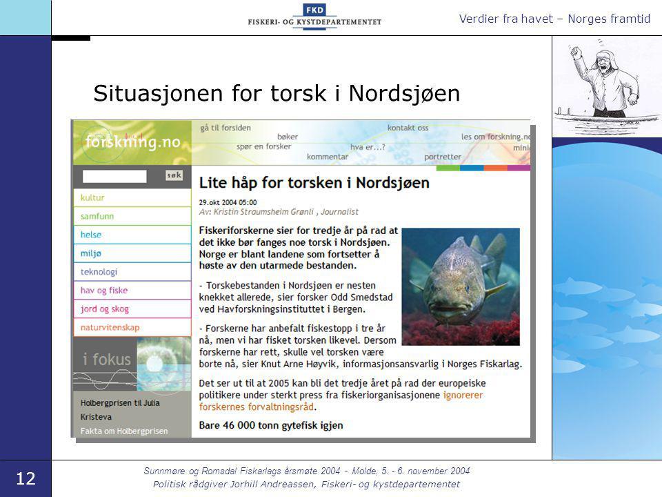 Verdier fra havet – Norges framtid 12 Sunnmøre og Romsdal Fiskarlags årsmøte 2004 - Molde, 5. - 6. november 2004 Politisk rådgiver Jorhill Andreassen,