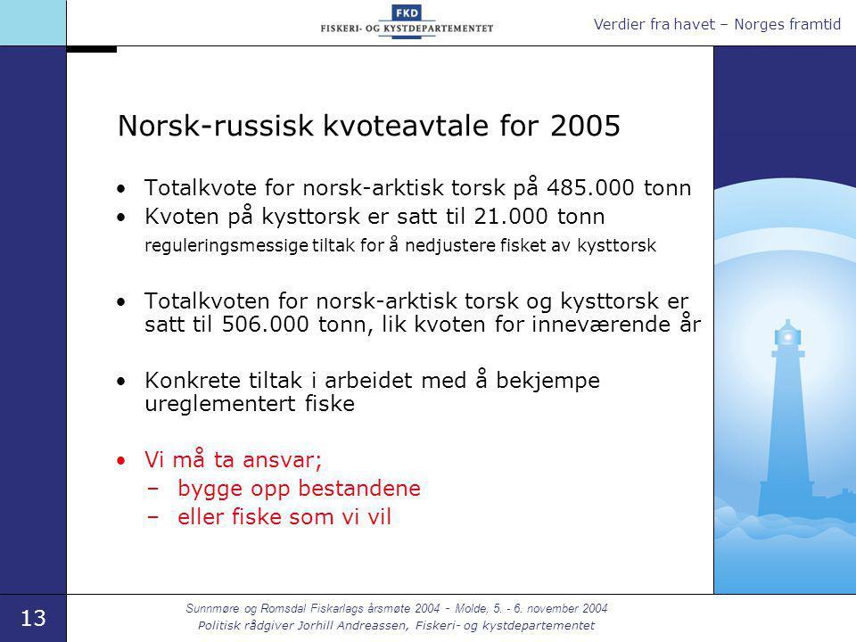 Verdier fra havet – Norges framtid 13 Sunnmøre og Romsdal Fiskarlags årsmøte 2004 - Molde, 5. - 6. november 2004 Politisk rådgiver Jorhill Andreassen,