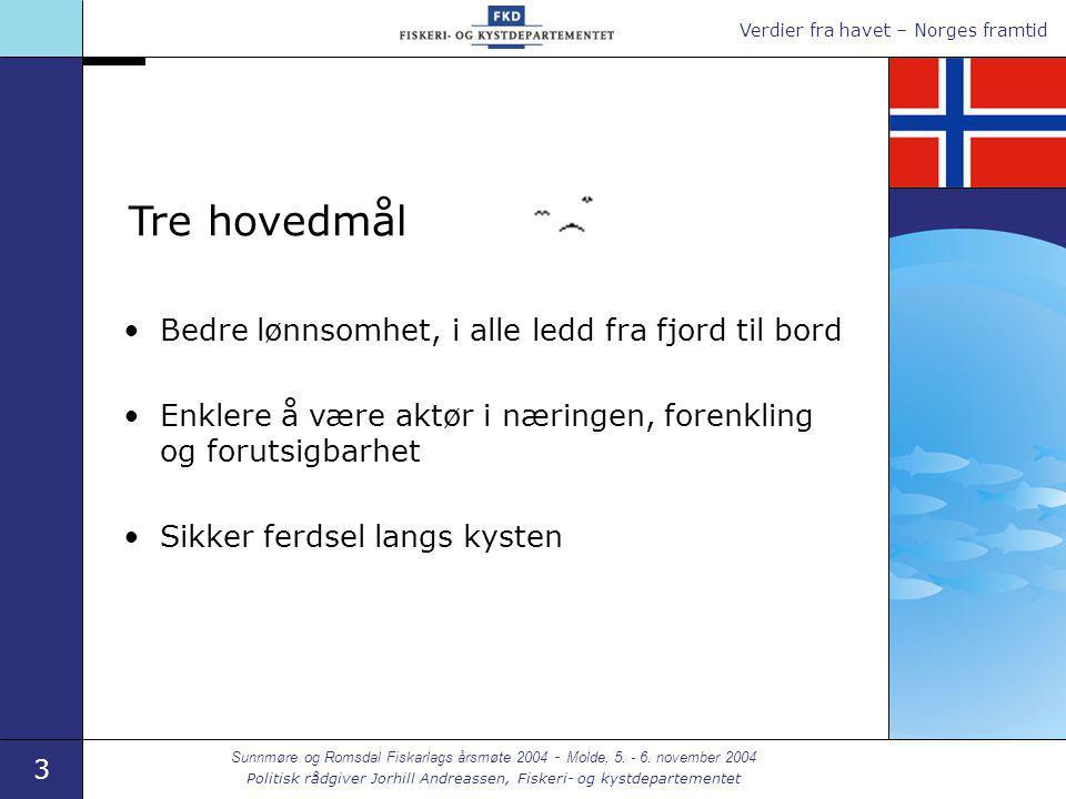 Verdier fra havet – Norges framtid 3 Sunnmøre og Romsdal Fiskarlags årsmøte 2004 - Molde, 5. - 6. november 2004 Politisk rådgiver Jorhill Andreassen,