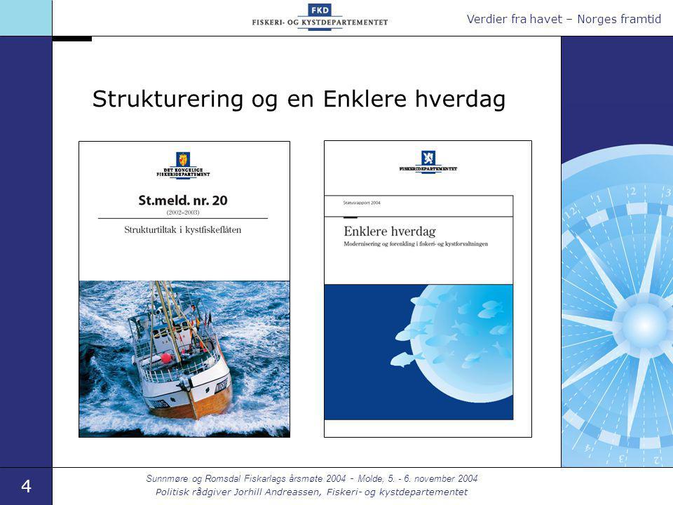 Verdier fra havet – Norges framtid 4 Sunnmøre og Romsdal Fiskarlags årsmøte 2004 - Molde, 5. - 6. november 2004 Politisk rådgiver Jorhill Andreassen,