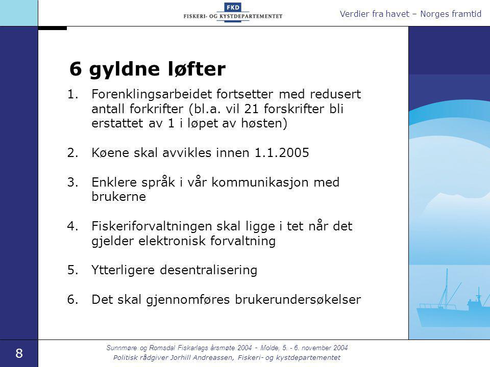 Verdier fra havet – Norges framtid 8 Sunnmøre og Romsdal Fiskarlags årsmøte 2004 - Molde, 5.
