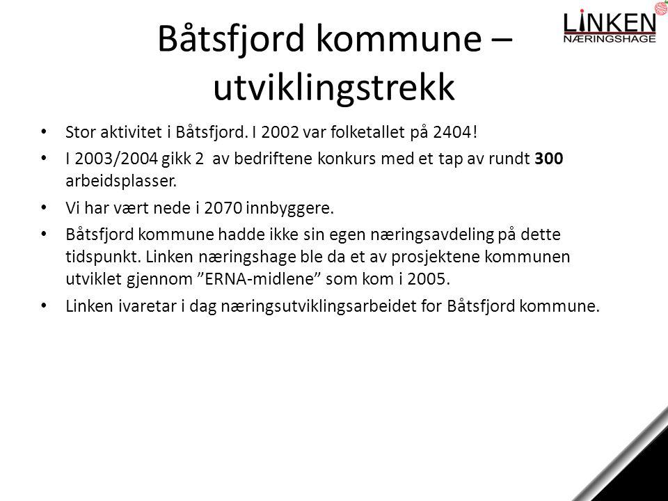 Faste utviklingsoppgaver Har rundt 40 bedrifter/organisasjoner tilknyttet næringshagen som vi server Båtsfjords kommunes næringsavdeling Medlem og sekretariat av Båtsfjord Handelsstands Fiskerigruppe Node i SIVA-programmet Inkubator Nord Management for Båtsfjord kommunes investeringsselskap – Båtsfjord Invest AS