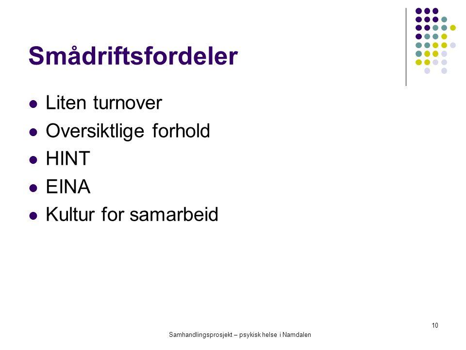 Samhandlingsprosjekt – psykisk helse i Namdalen 10 Smådriftsfordeler Liten turnover Oversiktlige forhold HINT EINA Kultur for samarbeid