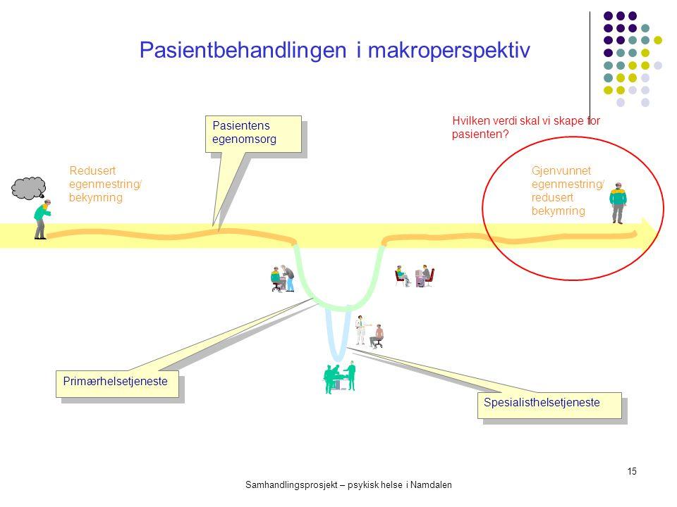 Samhandlingsprosjekt – psykisk helse i Namdalen 15 Redusert egenmestring/ bekymring Gjenvunnet egenmestring/ redusert bekymring Pasientens egenomsorg