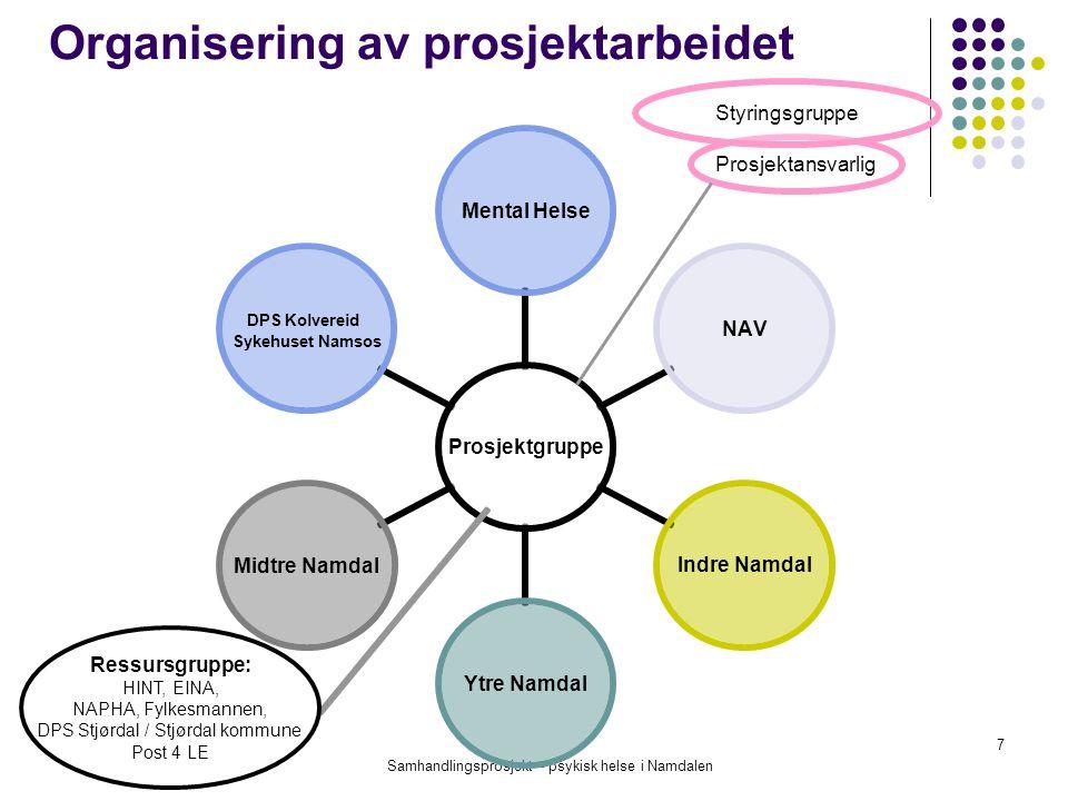 Samhandlingsprosjekt – psykisk helse i Namdalen 7 Organisering av prosjektarbeidet Prosjektansvarlig Ressursgruppe: HINT, EINA, NAPHA, Fylkesmannen, D