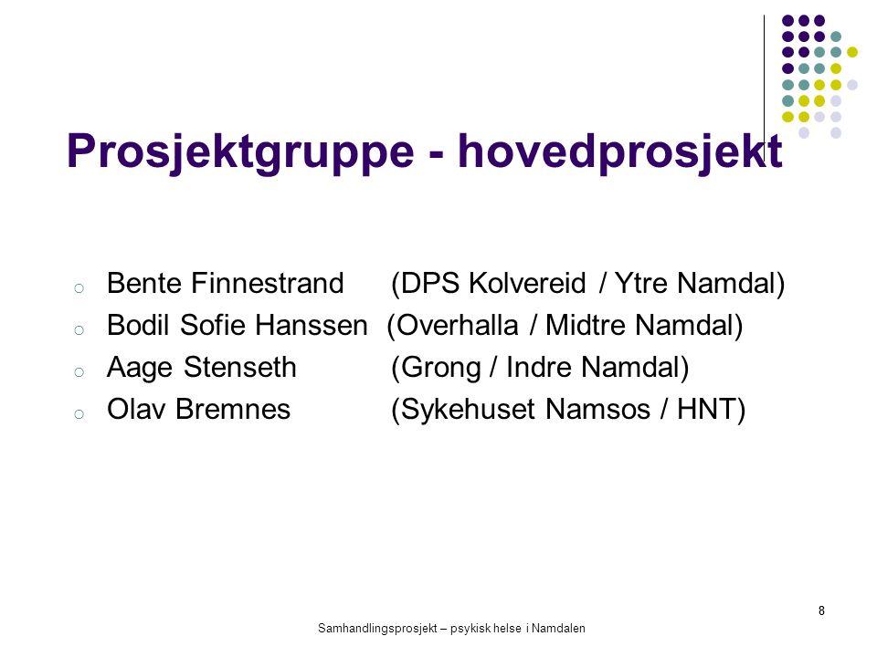 Samhandlingsprosjekt – psykisk helse i Namdalen 8 Prosjektgruppe - hovedprosjekt o Bente Finnestrand (DPS Kolvereid / Ytre Namdal) o Bodil Sofie Hanss