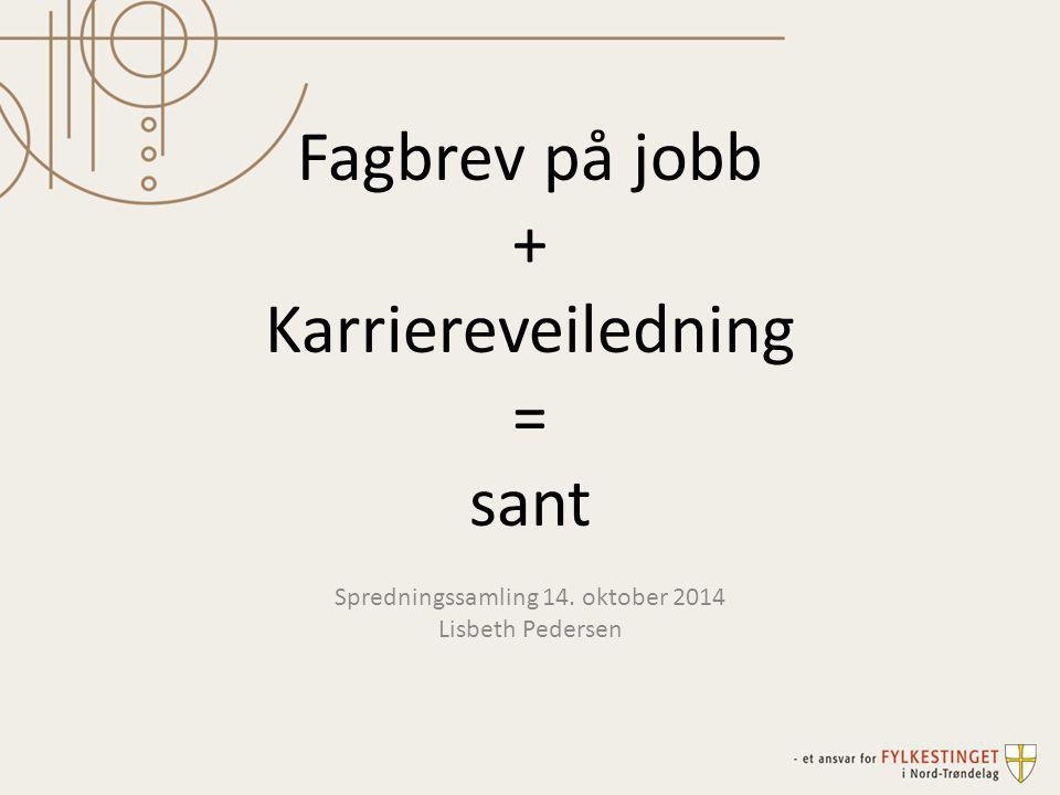 Fagbrev på jobb + Karriereveiledning = sant Spredningssamling 14. oktober 2014 Lisbeth Pedersen