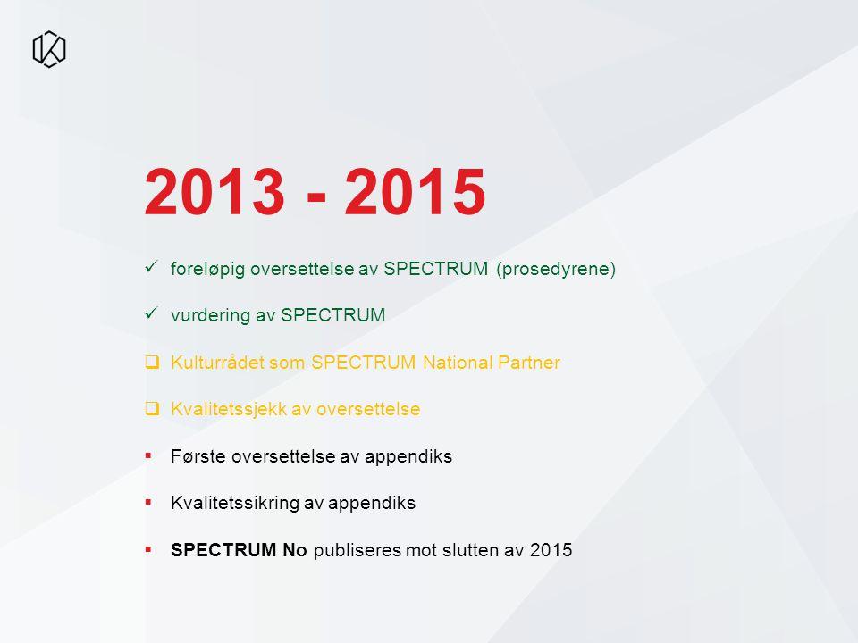 2013 - 2015 foreløpig oversettelse av SPECTRUM (prosedyrene) vurdering av SPECTRUM  Kulturrådet som SPECTRUM National Partner  Kvalitetssjekk av oversettelse  Første oversettelse av appendiks  Kvalitetssikring av appendiks  SPECTRUM No publiseres mot slutten av 2015