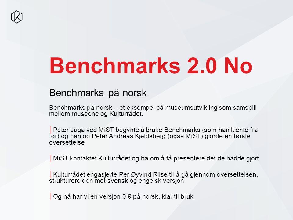 Benchmarks 2.0 No Benchmarks på norsk – et eksempel på museumsutvikling som samspill mellom museene og Kulturrådet.