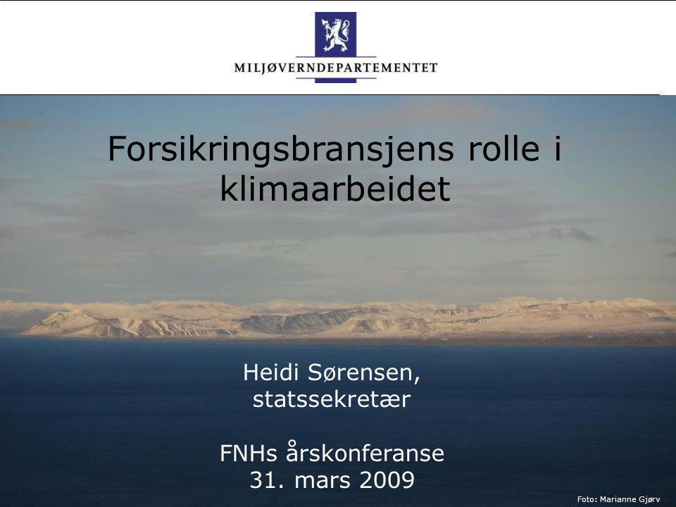 Heidi Sørensen, statssekretær FNHs årskonferanse 31. mars 2009 Foto: Marianne Gjørv Forsikringsbransjens rolle i klimaarbeidet