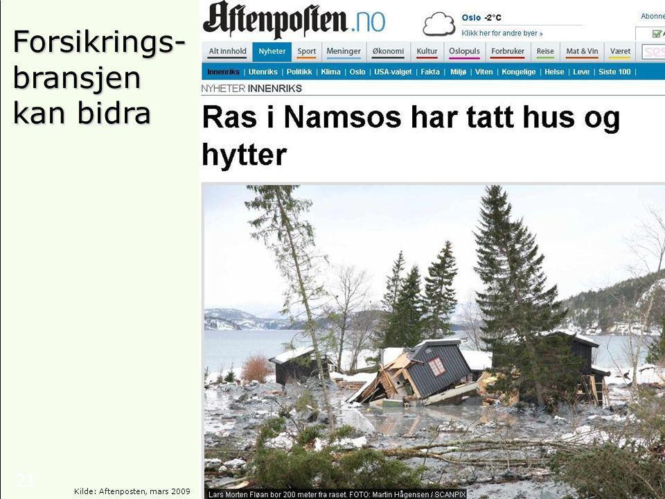 21 Forsikrings- bransjen kan bidra Kilde: Aftenposten, mars 2009