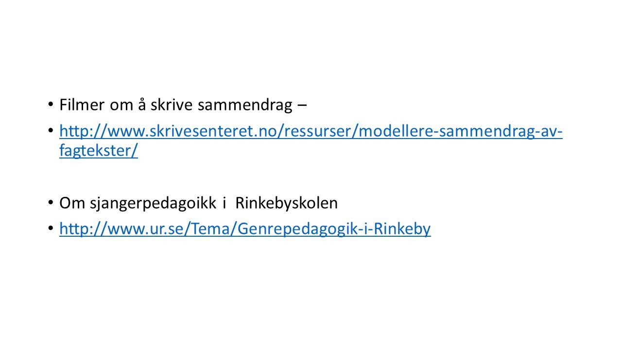 Filmer om å skrive sammendrag – http://www.skrivesenteret.no/ressurser/modellere-sammendrag-av- fagtekster/ http://www.skrivesenteret.no/ressurser/modellere-sammendrag-av- fagtekster/ Om sjangerpedagoikk i Rinkebyskolen http://www.ur.se/Tema/Genrepedagogik-i-Rinkeby