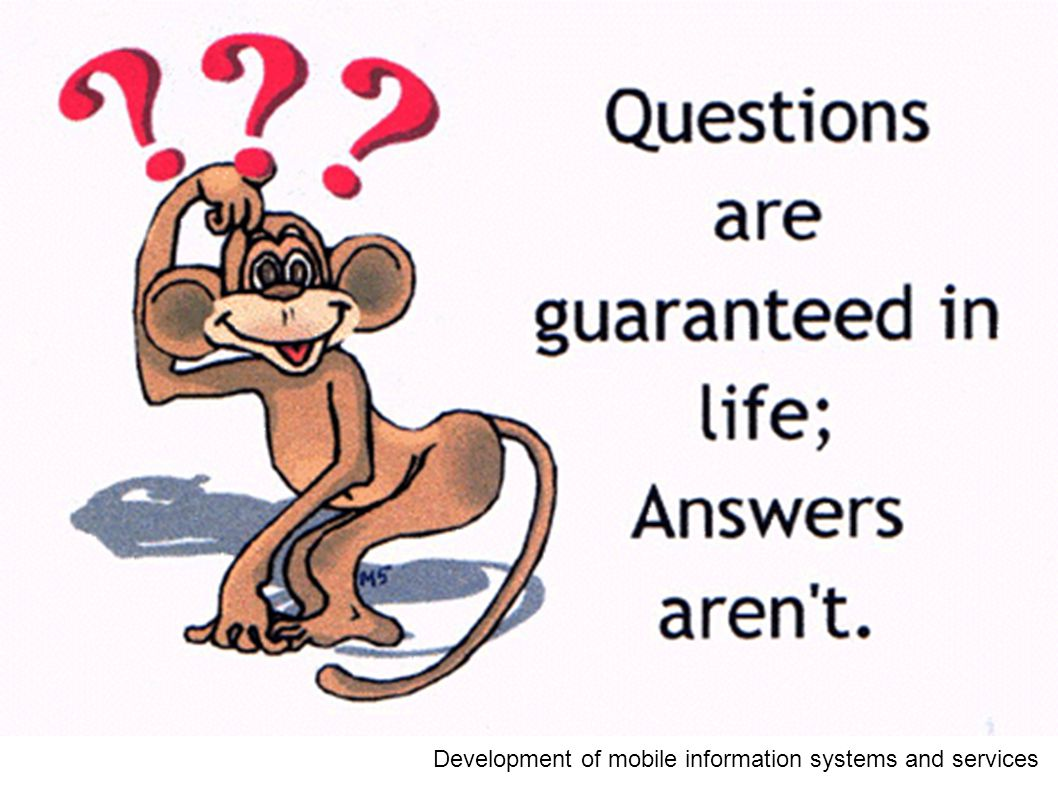Questions? Development of mobile information systems and services