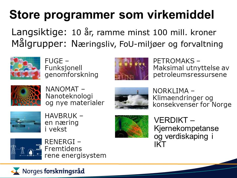 Store programmer som virkemiddel VERDIKT – Kjernekompetanse og verdiskaping i IKT Langsiktige: 10 år, ramme minst 100 mill.