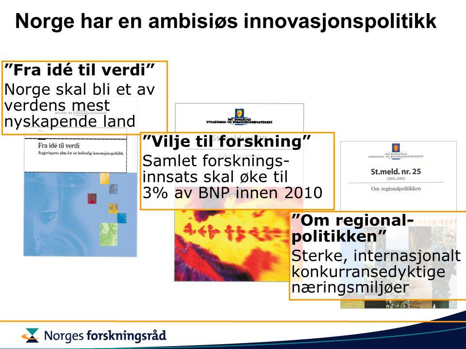 Norge har en ambisiøs innovasjonspolitikk Fra idé til verdi Norge skal bli et av verdens mest nyskapende land Vilje til forskning Samlet forsknings- innsats skal øke til 3% av BNP innen 2010 Om regional- politikken Sterke, internasjonalt konkurransedyktige næringsmiljøer