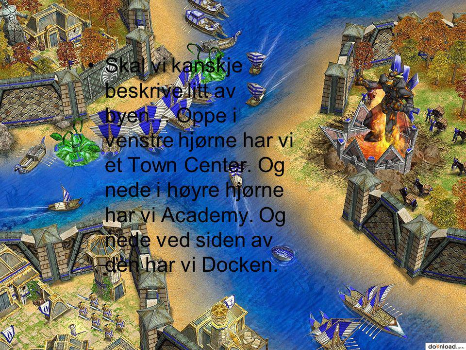Skal vi kanskje beskrive litt av byen… Oppe i venstre hjørne har vi et Town Center.