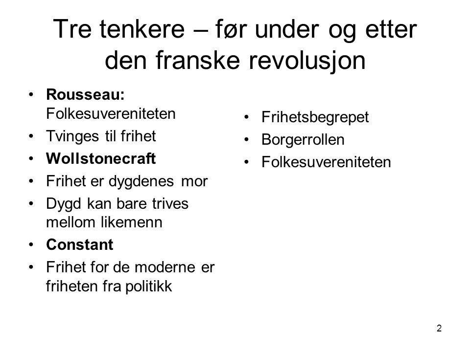2 Tre tenkere – før under og etter den franske revolusjon Rousseau: Folkesuvereniteten Tvinges til frihet Wollstonecraft Frihet er dygdenes mor Dygd kan bare trives mellom likemenn Constant Frihet for de moderne er friheten fra politikk Frihetsbegrepet Borgerrollen Folkesuvereniteten