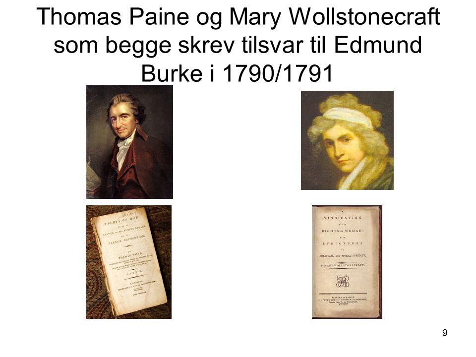 9 Thomas Paine og Mary Wollstonecraft som begge skrev tilsvar til Edmund Burke i 1790/1791