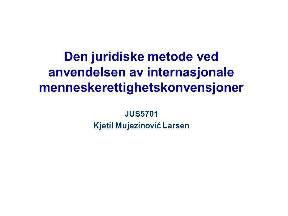 Den juridiske metode ved anvendelsen av internasjonale menneskerettighetskonvensjoner JUS5701 Kjetil Mujezinović Larsen